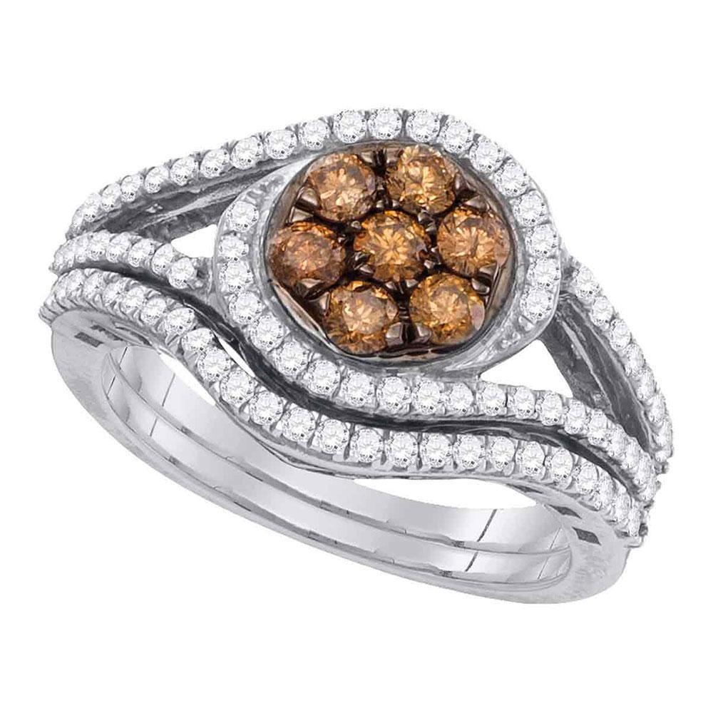 1 CTW Cognac-brown Color Diamond Cluster Bridal Ring 10KT White Gold - REF-75M2H