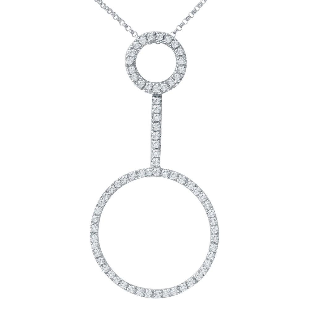 Natural 0.80 CTW Diamond Necklace 14K White Gold - REF-59N3Y