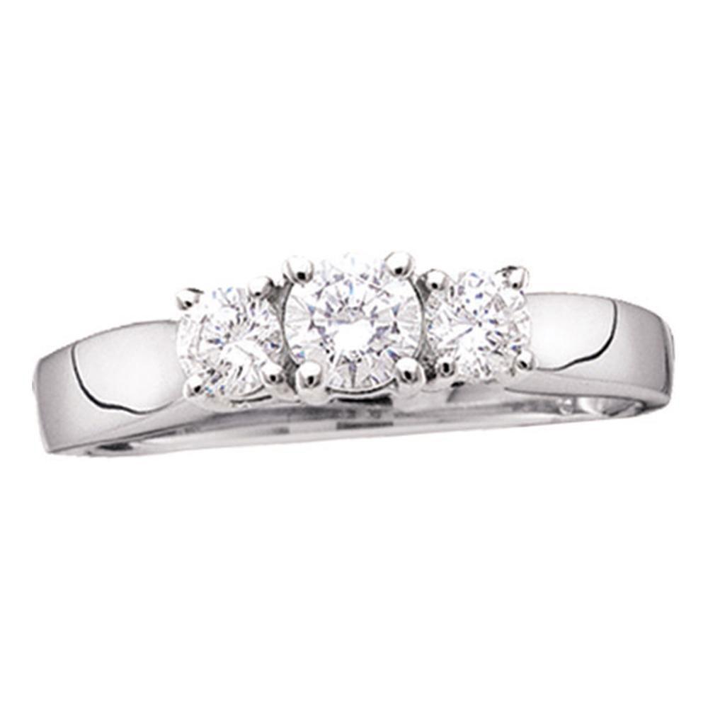 0.74 CTW Diamond 3-stone Bridal Engagement Ring 14KT White Gold - REF-97N4F