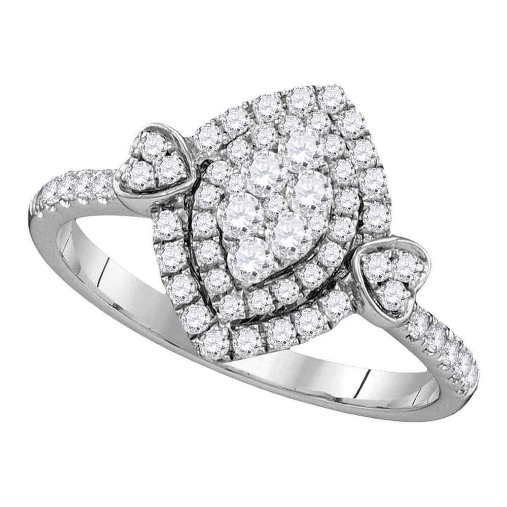 0.59 CTW Diamond Oval Double Halo Cluster Ring 14KT White Gold - REF-82K4W