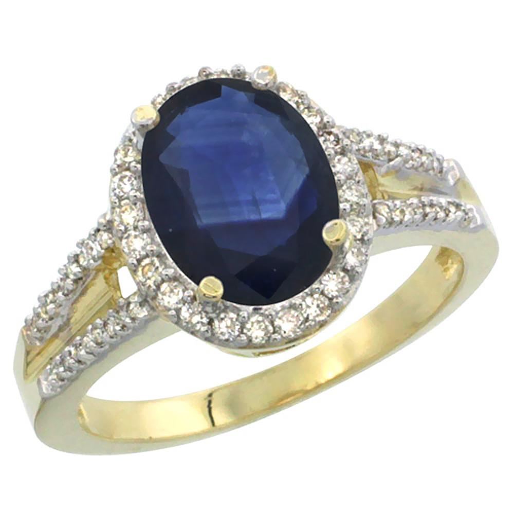 Natural 2.72 ctw blue-sapphire & Diamond Engagement Ring 14K Yellow Gold - REF-114X5A
