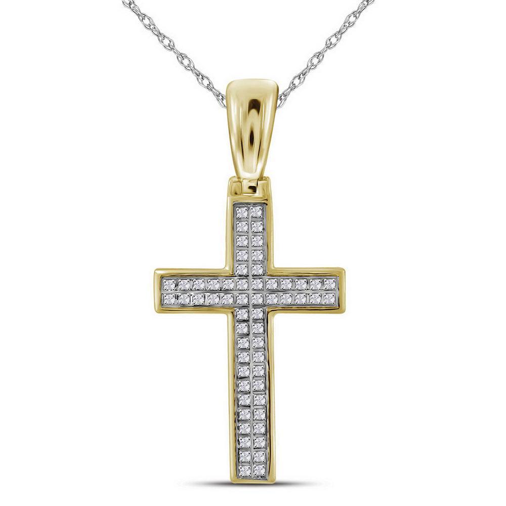 0.15 CTW Mens Diamond Small Cross Charm Pendant 10KT Yellow Gold - REF-25F4N