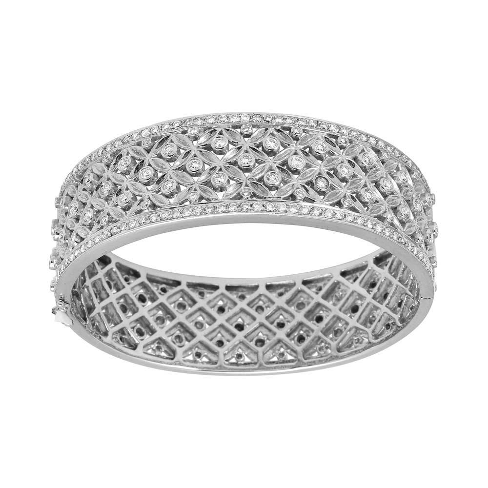 Natural 2.66 CTW Diamond Bangle 14K White Gold - REF-410F5N