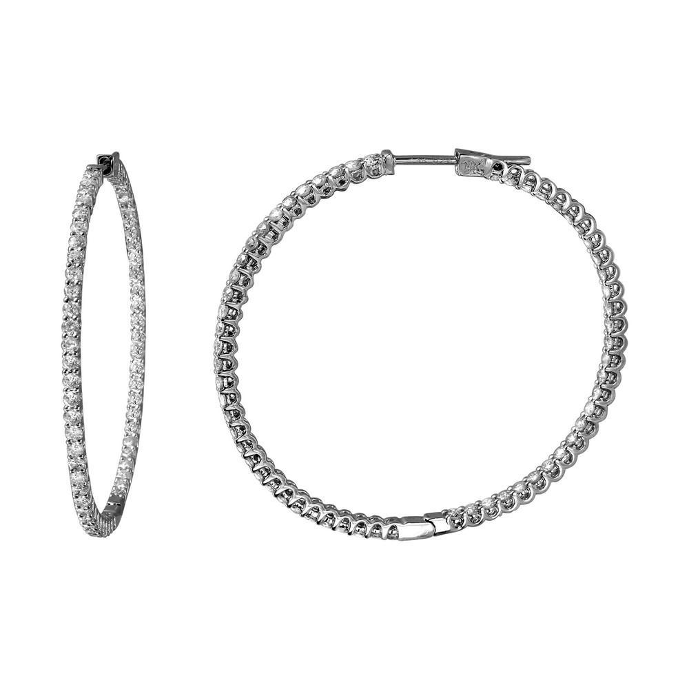 Natural 2.09 CTW Diamond Earrings 14K White Gold - REF-127X3R