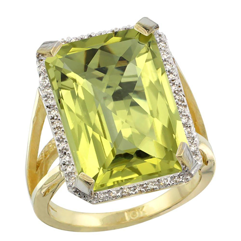 Natural 13.72 ctw Lemon-quartz & Diamond Engagement Ring 10K Yellow Gold - REF-57H8W