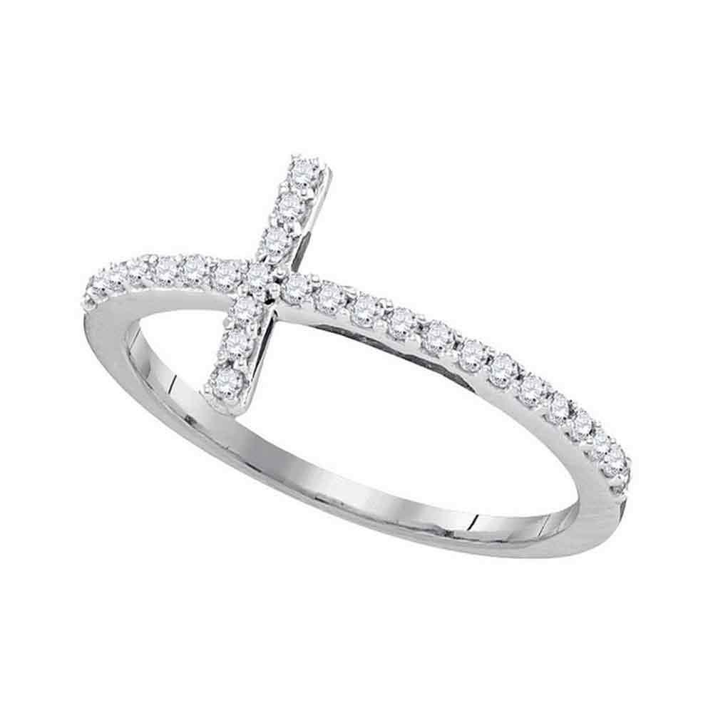 0.20 CTW Diamond Cross Slender Ring 10KT White Gold - REF-14N9F