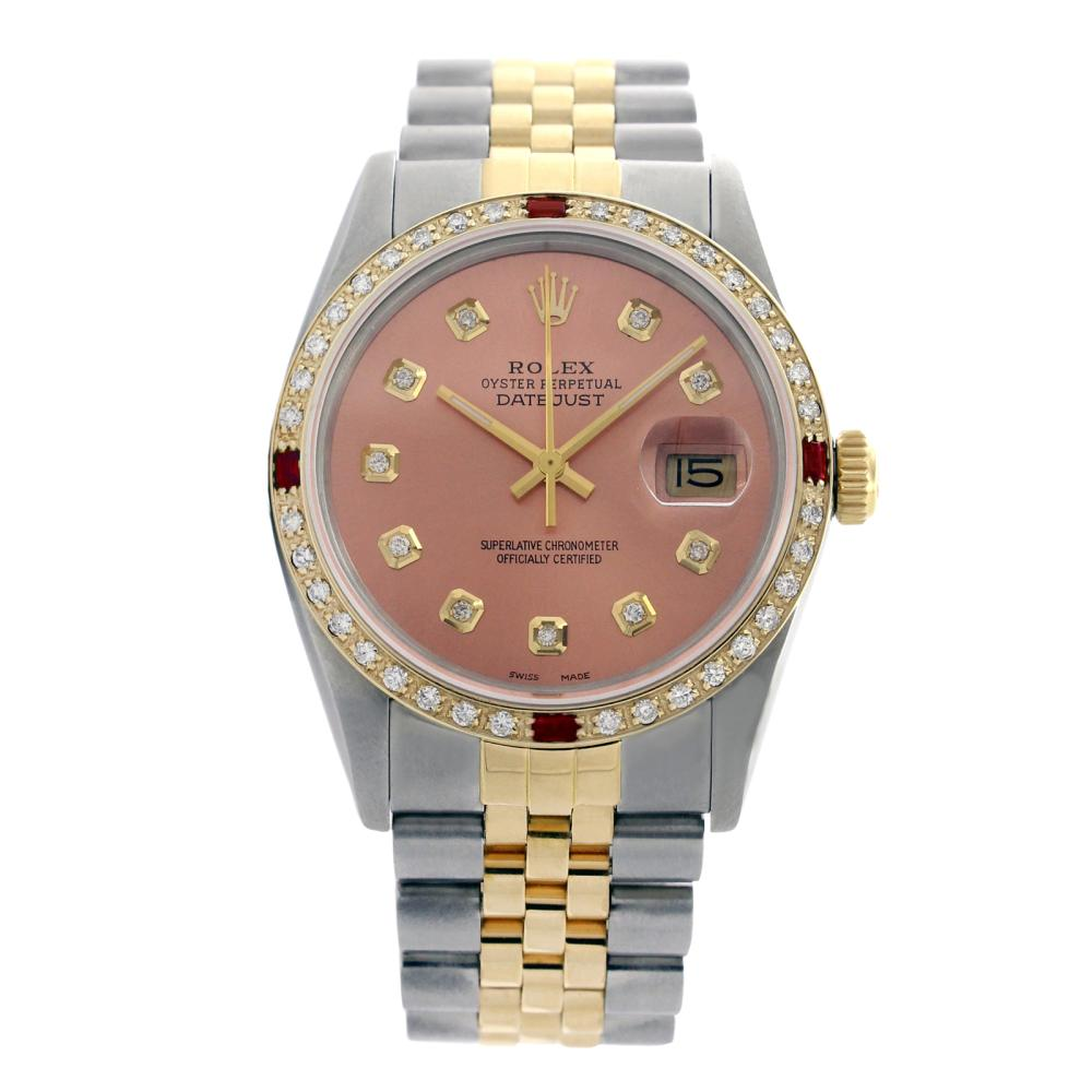 Rolex Pre-owned 36mm Mens Salmon Two Tone - REF-610H3N