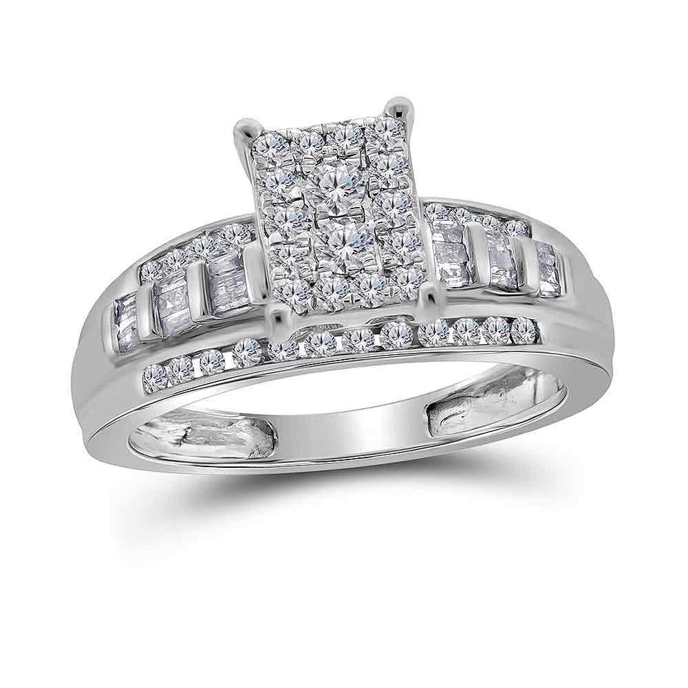 0.53 CTW Diamond Cluster Bridal Engagement Ring 10KT White Gold - REF-41Y9X