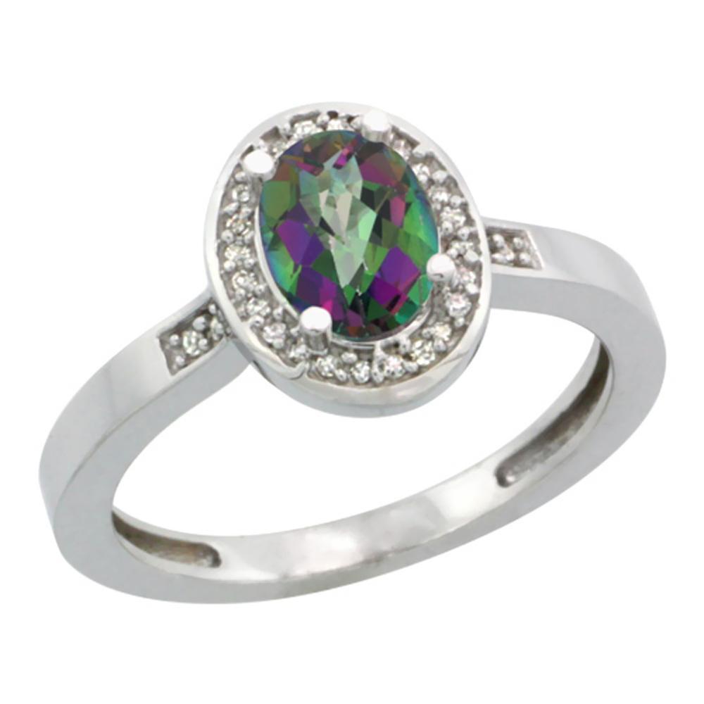 Natural 1.08 ctw Mystic-topaz & Diamond Engagement Ring 14K White Gold - REF-31Y3X