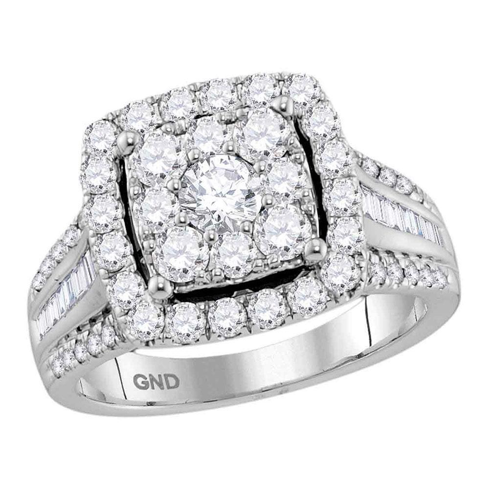 1.59 CTW Diamond Square Cluster Bridal Engagement Ring 10KT White Gold - REF-194F9N