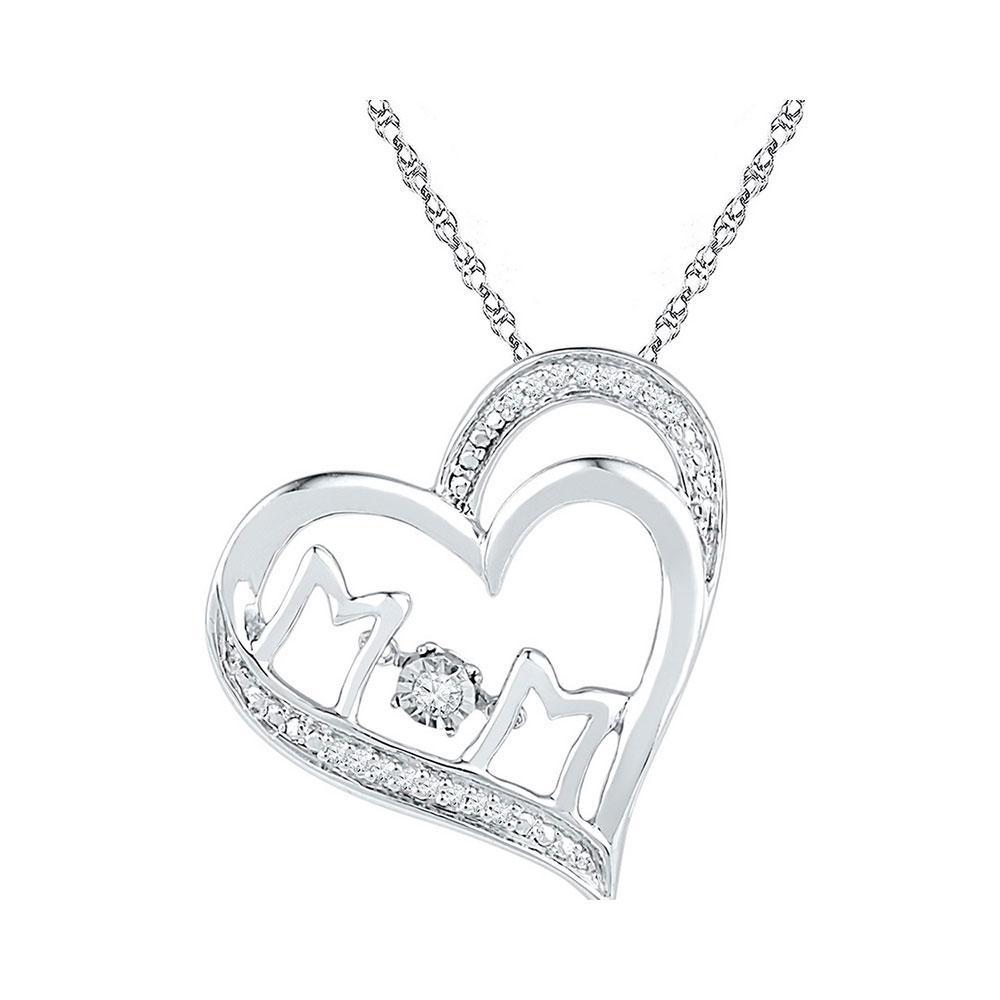 0.06 CTW Diamond Mom Heart Pendant 10KT White Gold - REF-20W9K