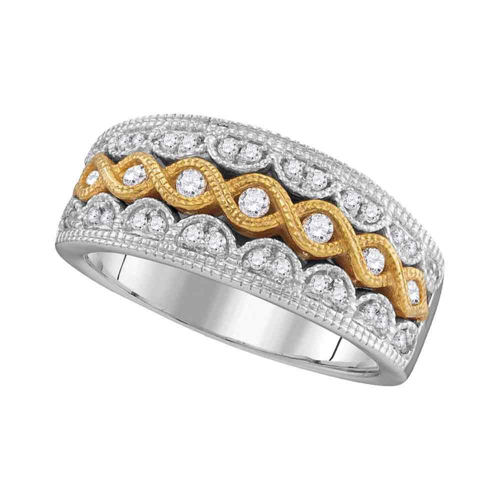0.33 CTW Diamond Yellow Fashion Ring 10KT Two-tone Gold - REF-53F9N