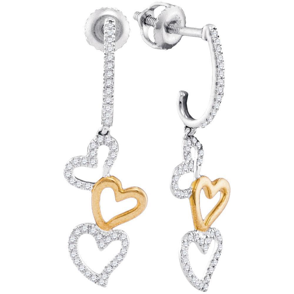 0.25 CTW Diamond Dangling Triple Heart Earrings 10KT Two-tone Gold - REF-26Y9X