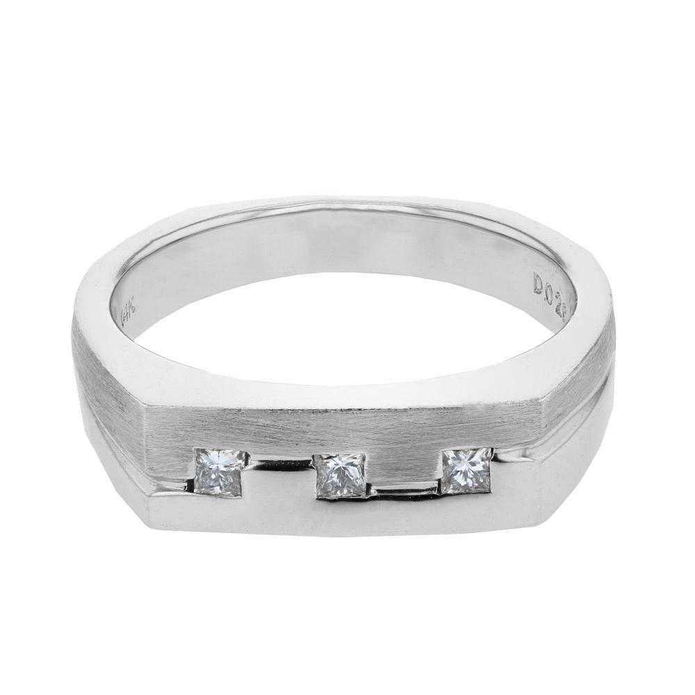 Natural 0.26 CTW Princess Diamond Ring 14K White Gold - REF-71H2M