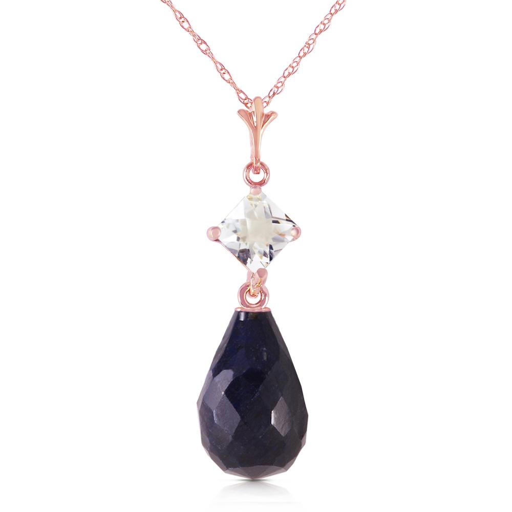 Genuine 9.3 ctw Sapphire & White Topaz Necklace Jewelry 14KT Rose Gold - REF-26K6V