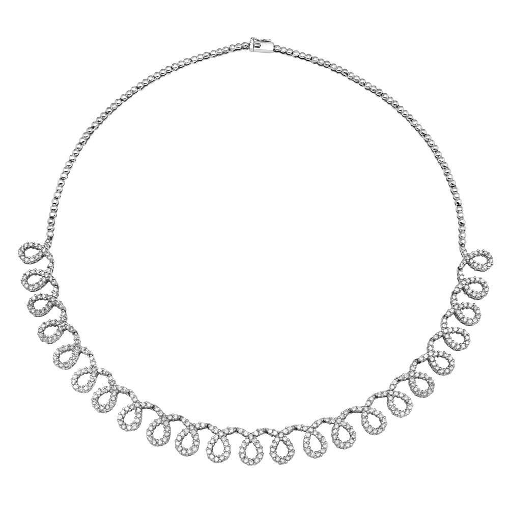 Natural 5.03 CTW Diamond Necklace 14K White Gold - REF-308H7M