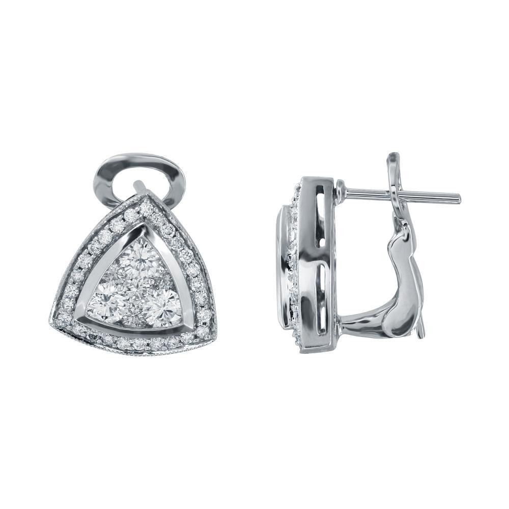 Natural 1.5 CTW Diamond Earrings 14K White Gold - REF-177F9N