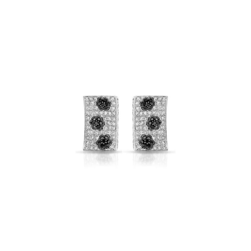 Natural 1.59 CTW White & Black Diamond Earrings 14K White Gold - REF-105F7N
