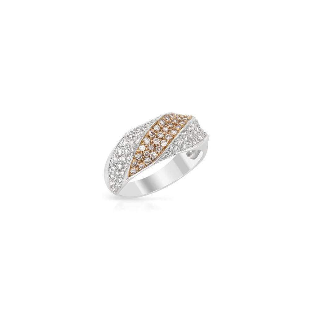 Natural 0.80 CTW Diamond Band Ring 18K 2Tone Gold - REF-77F6N
