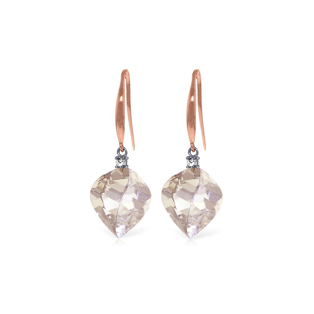 Genuine 25.7 ctw White Topaz & Diamond Earrings Jewelry 14KT Rose Gold - REF-54R6P
