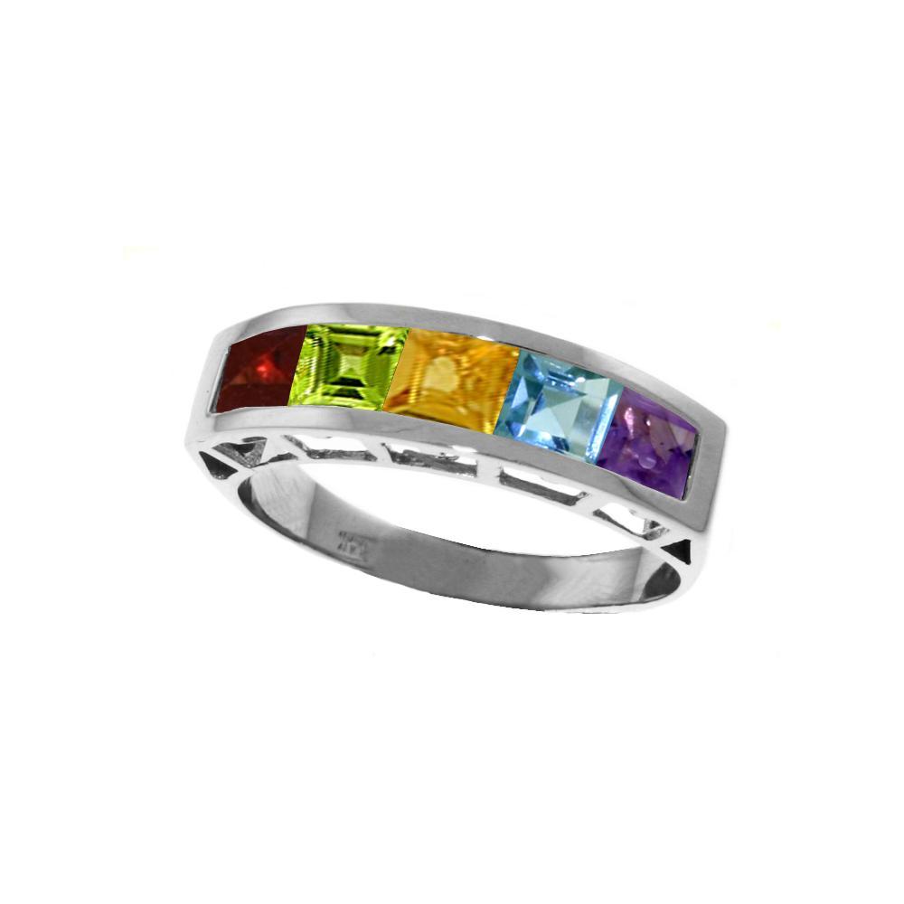 Genuine 2.25 ctw Multi-gemstones Ring Jewelry 14KT White Gold - REF-54A2K