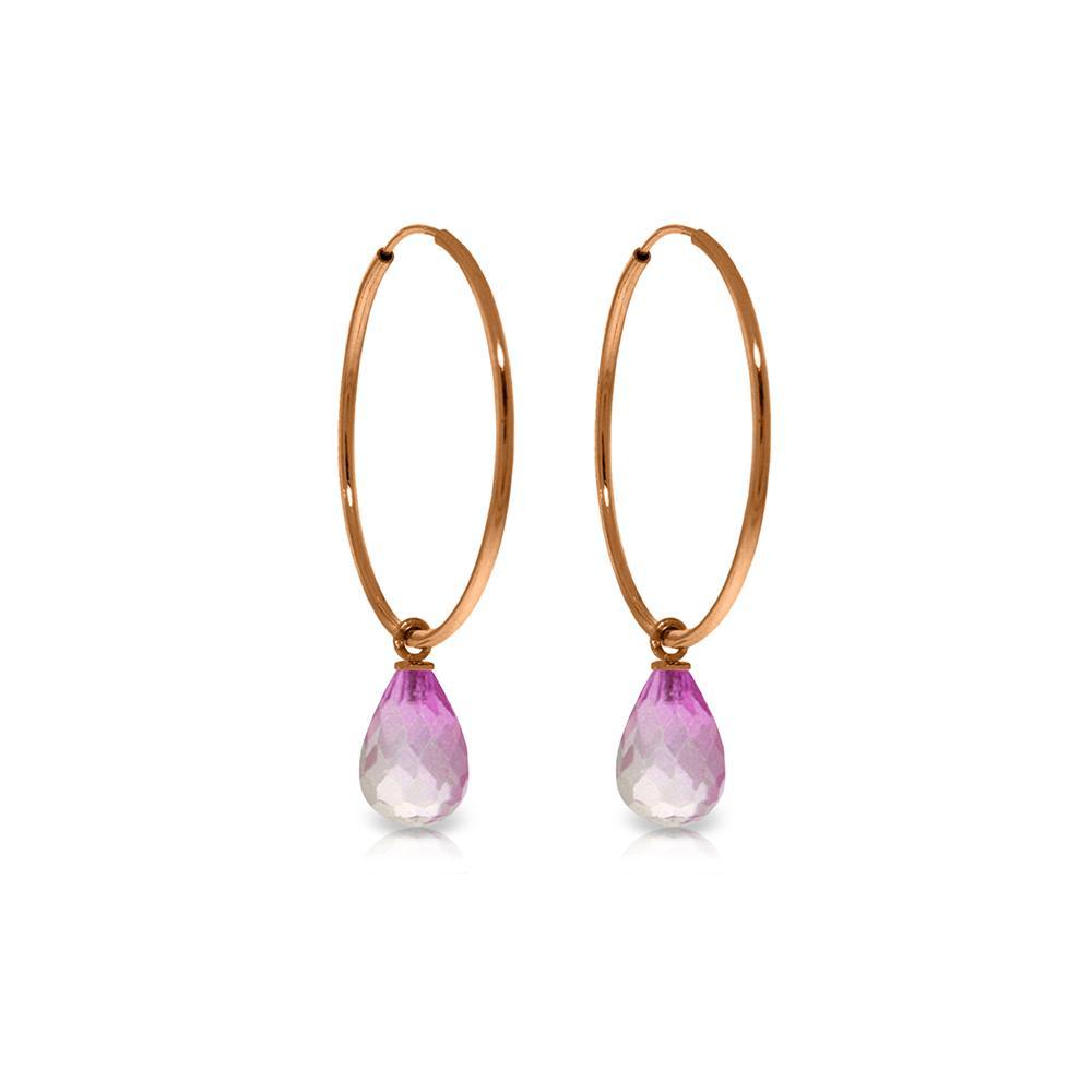 Genuine 4.5 ctw Pink Topaz Earrings Jewelry 14KT Rose Gold - REF-26W2Y