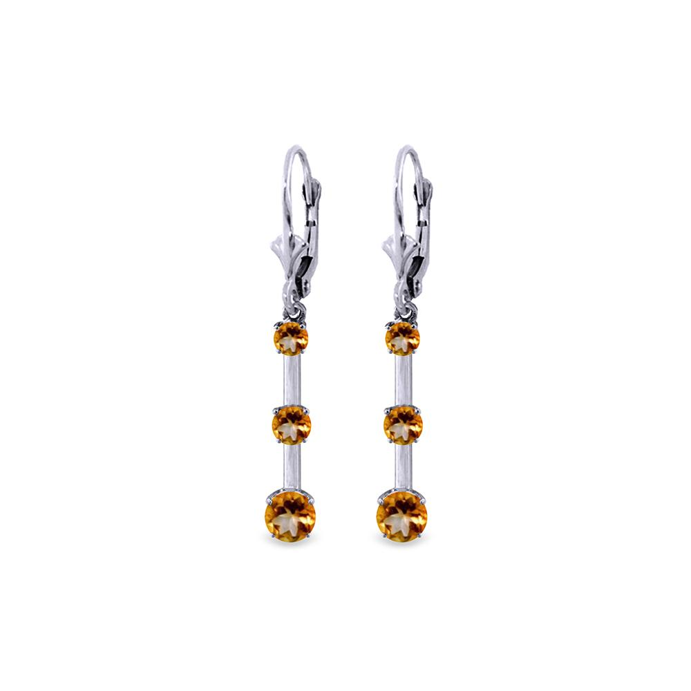 Genuine 2.5 ctw Citrine Earrings Jewelry 14KT White Gold - REF-39A3K
