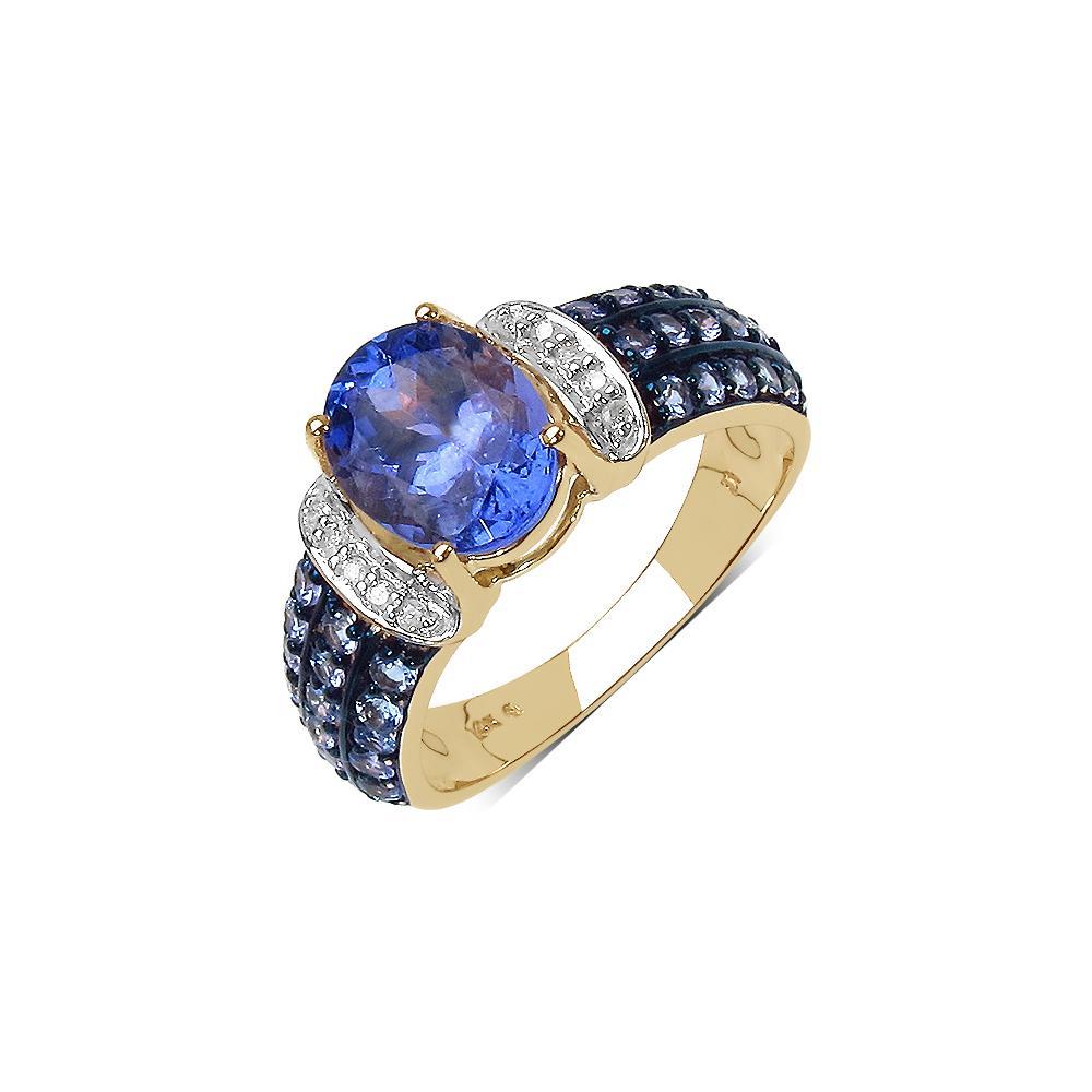 2.54 CTW Tanzanite & Diamond Ring 10K Yellow Gold - REF-65Y4K