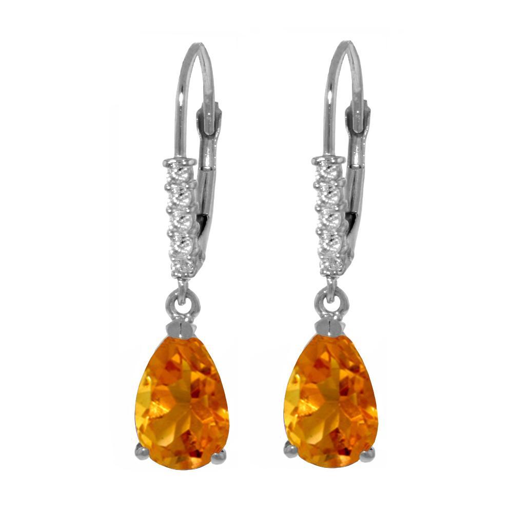 Genuine 3.15 ctw Citrine & Diamond Earrings Jewelry 14KT White Gold - REF-44K3V
