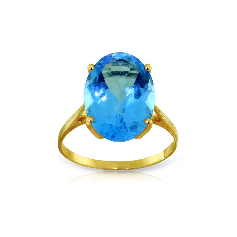 Genuine 8 ctw Blue Topaz Ring Jewelry 14KT Yellow Gold - REF-46M2T