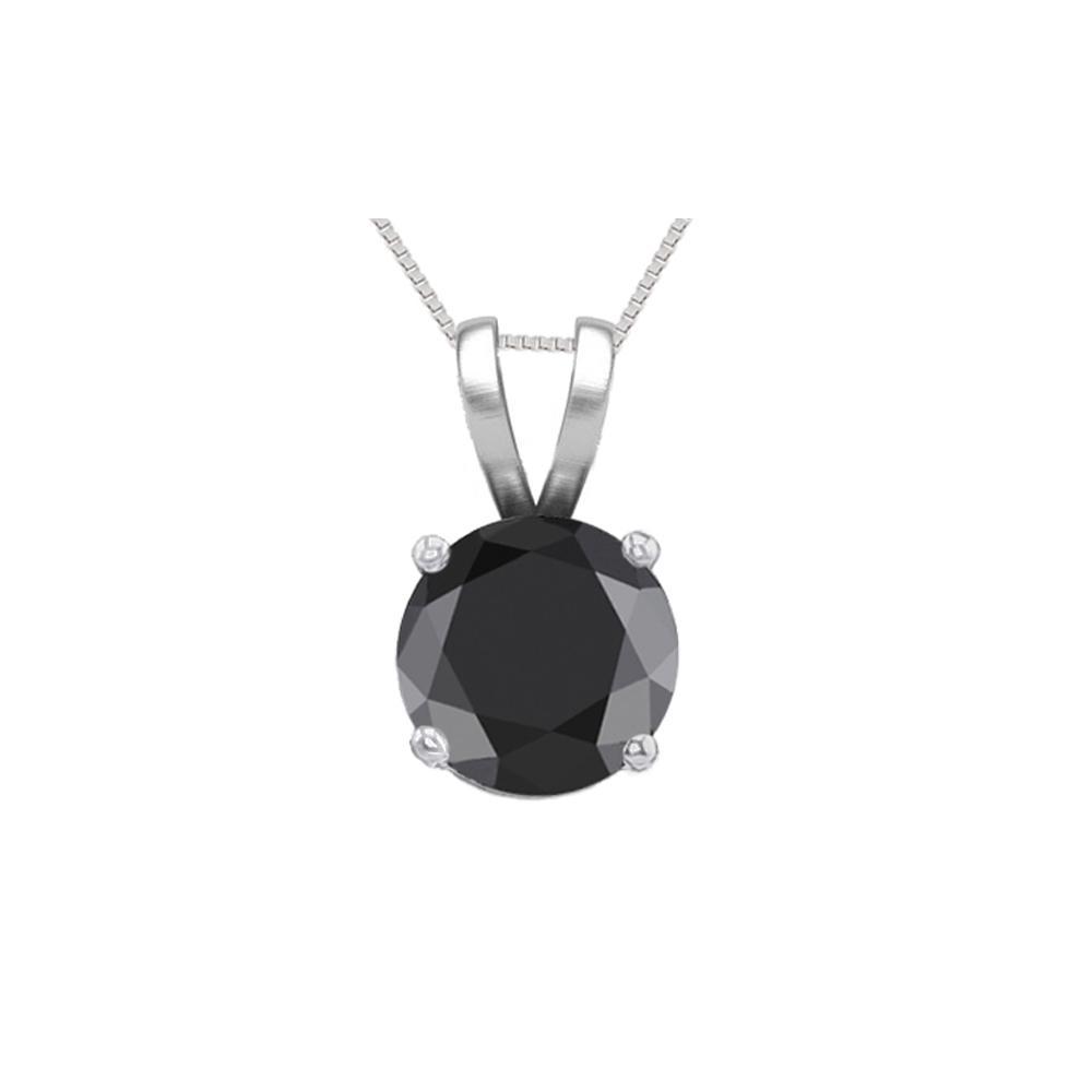 14K White Gold 0.58 ct Black Diamond Solitaire Necklace - REF-42A2V-WJ13276