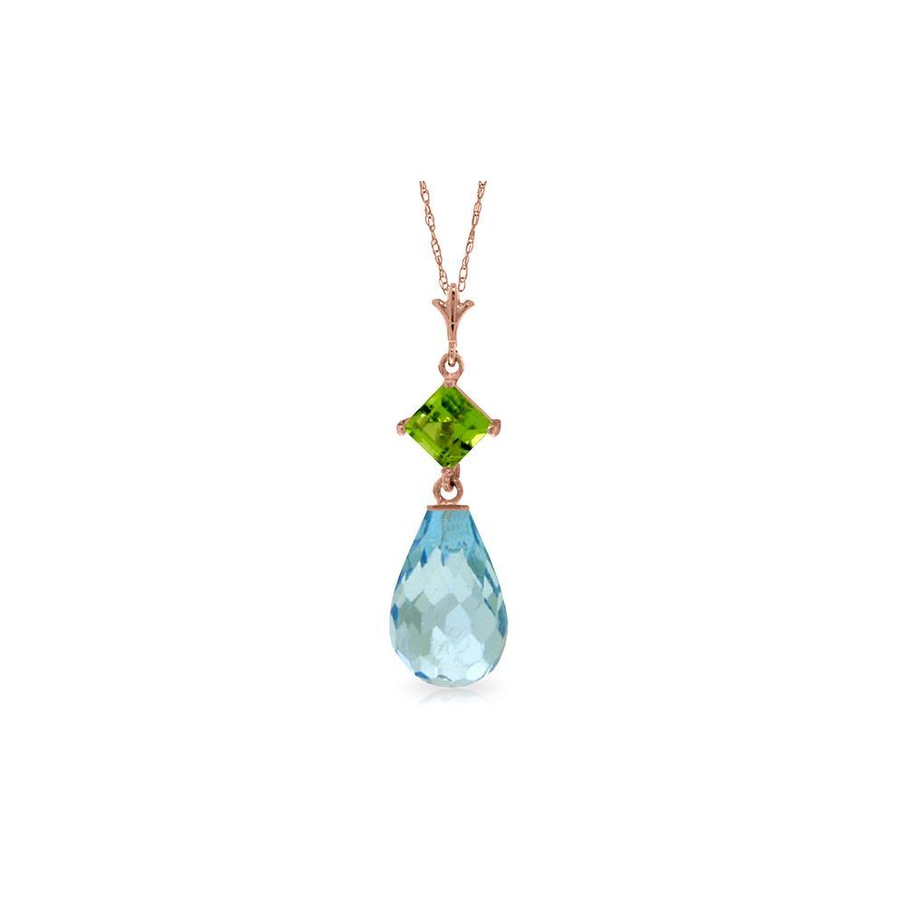 Genuine 5.5 ctw Blue Topaz & Peridot Necklace Jewelry 14KT Rose Gold - REF-22N2R