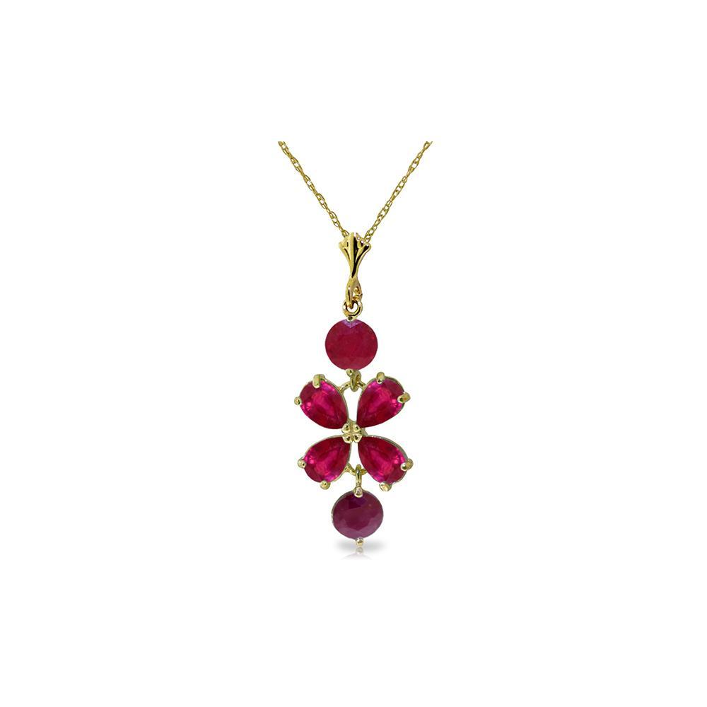 Genuine 3.15 ctw Ruby Necklace Jewelry 14KT Yellow Gold - REF-38V6W