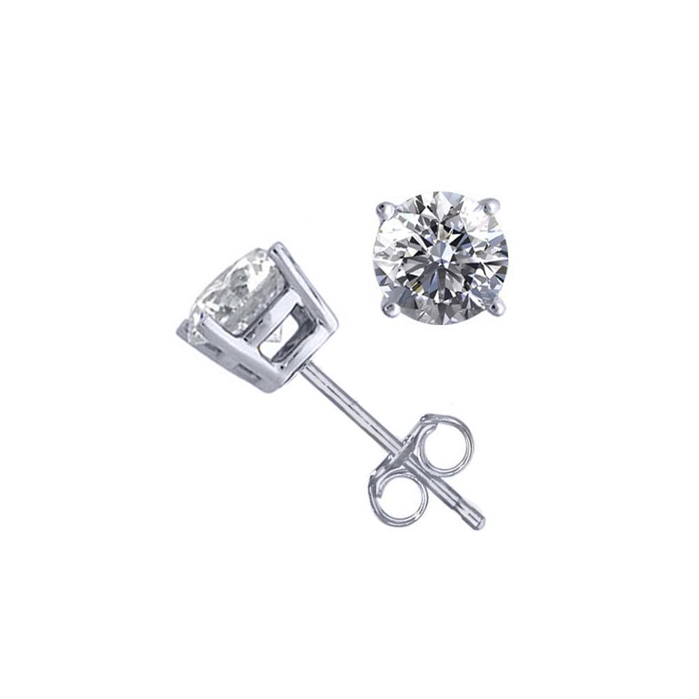 14K White Gold 1.54 ctw Natural Diamond Stud Earrings - REF-394F9N-WJ13297