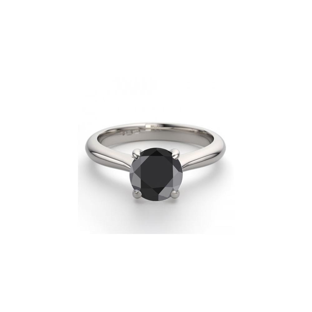 14K White Gold 1.24 ctw Black Diamond Solitaire Ring - REF-83Z8F-WJ13229