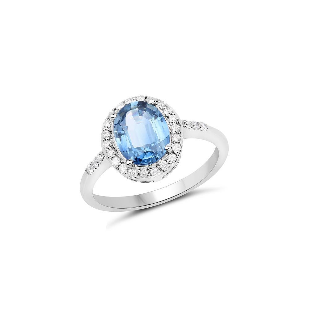 2.46 CTW Blue Sapphire & Diamond Ring 14K White Gold - REF-97M6A