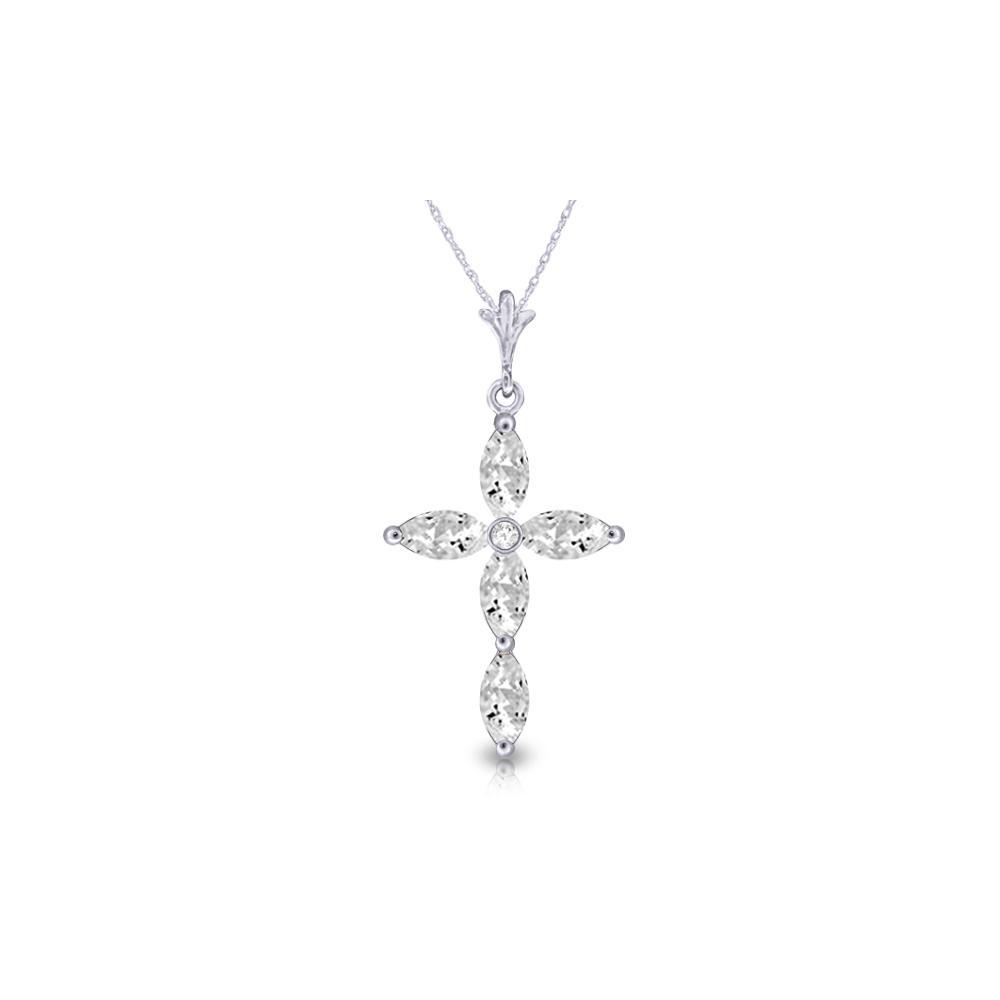 Genuine 1.23 ctw White Topaz & Diamond Necklace Jewelry 14KT White Gold - REF-30H3X