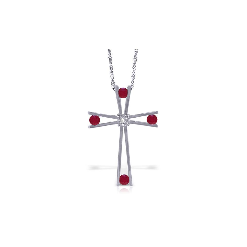 Genuine 0.53 ctw Ruby & Diamond Necklace Jewelry 14KT White Gold - REF-79F4Z