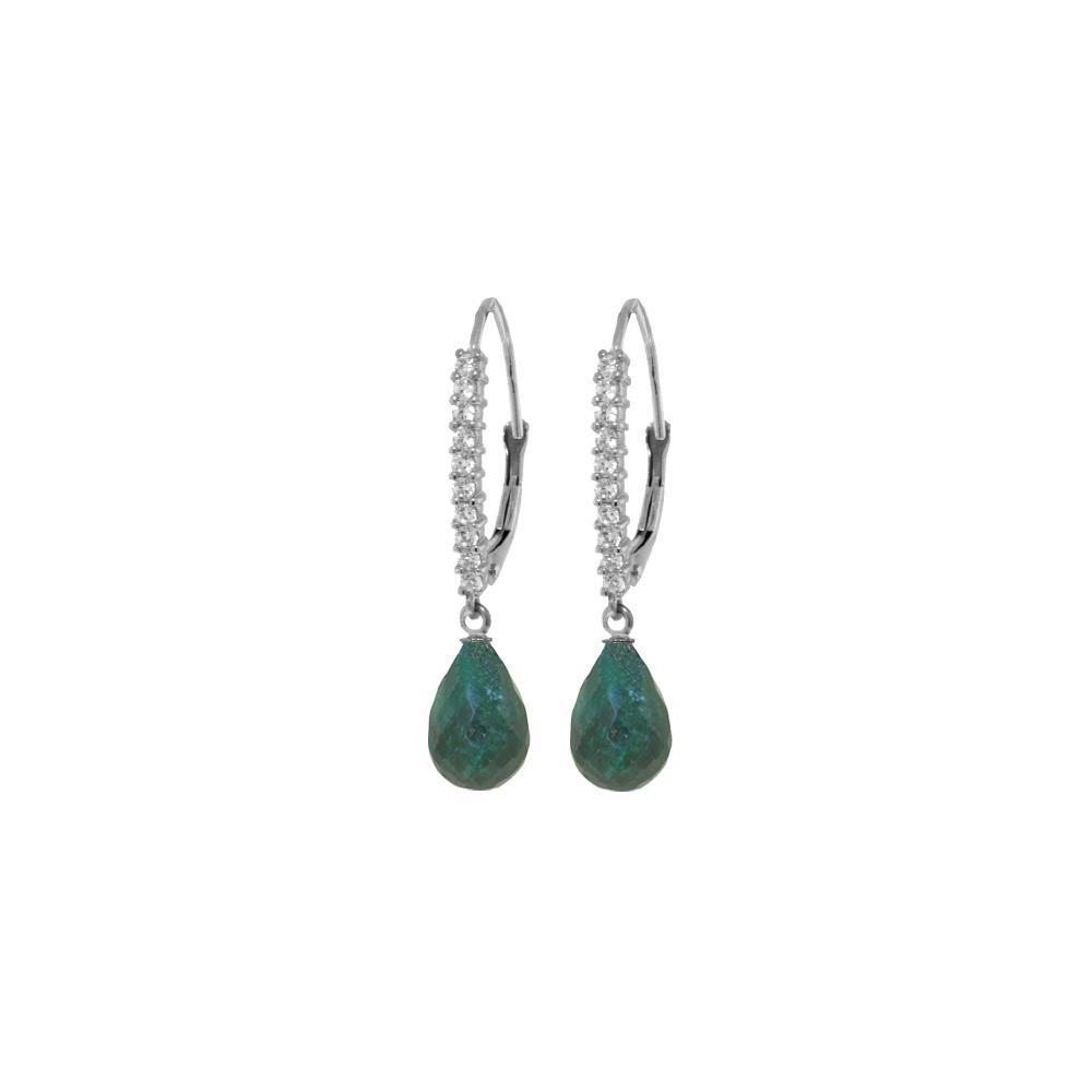 Genuine 6.9 ctw Green Sapphire Corundum & Diamond Earrings Jewelry 14KT White Gold - REF-54W5Y