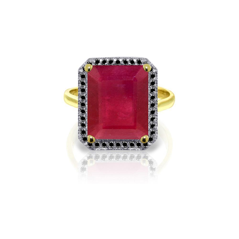 Genuine 7.45 ctw Ruby & Black Diamond Ring Jewelry 14KT Yellow Gold - REF-116Y6F
