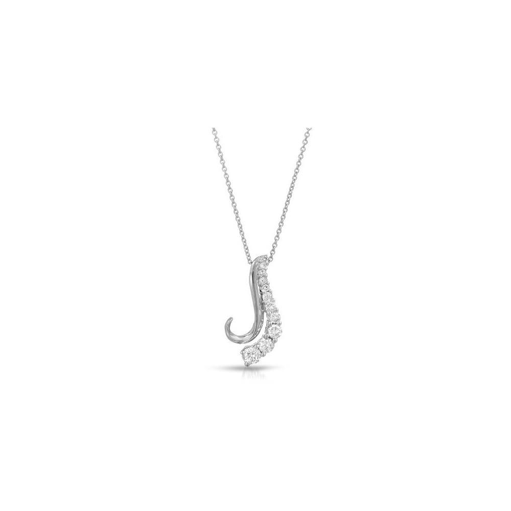 Natural 0.50 CTW Diamond Necklace 14K White Gold - REF-51M5F