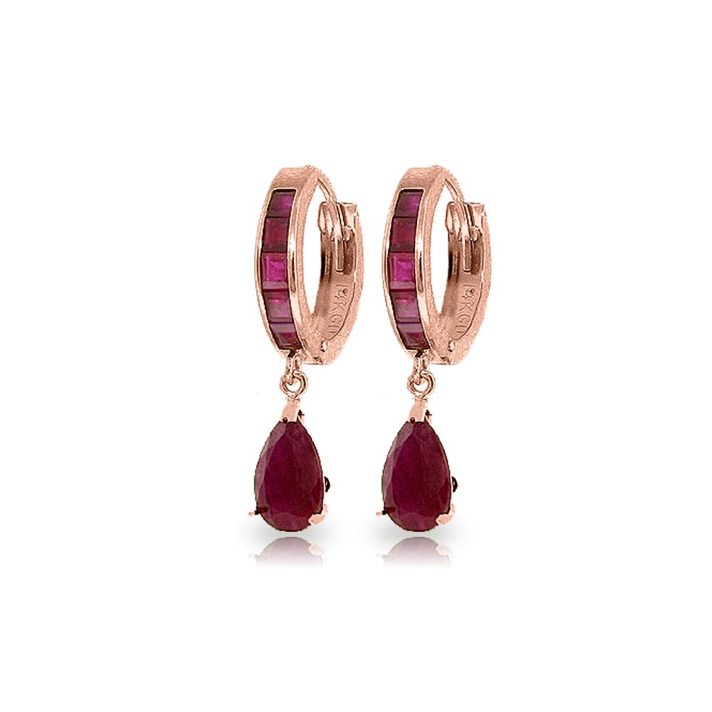 Genuine 4.8 ctw Ruby Earrings Jewelry 14KT Rose Gold - REF-71T5A
