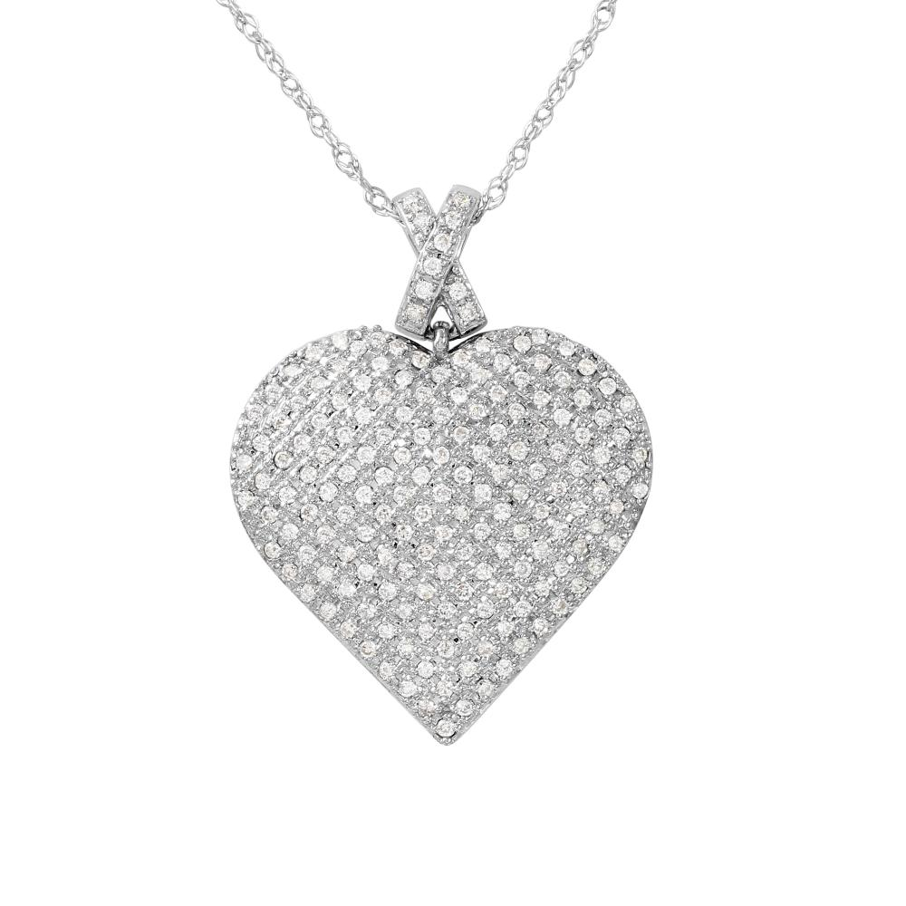 Natural 0.50 CTW Diamond Necklace 14K White Gold - REF-68N3Y