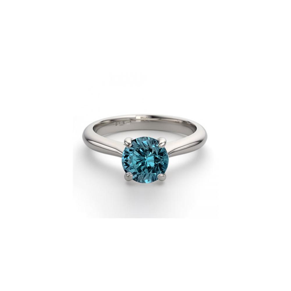 14K White Gold 0.83 ctw Blue Diamond Solitaire Ring - REF-153W4K-WJ13233