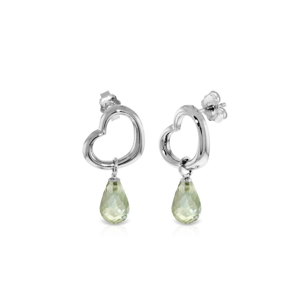 Genuine 4.5 ctw Green Amethyst Earrings Jewelry 14KT White Gold - REF-42V6W