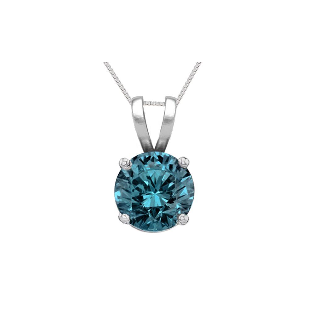 14K White Gold 1.01 ct Blue Diamond Solitaire Necklace - REF-186G8M-WJ13321