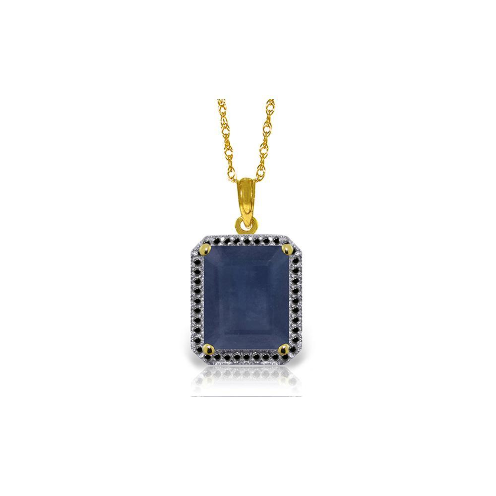 Genuine 6.6 ctw Sapphire & Black Diamond Necklace Jewelry 14KT Yellow Gold - REF-100N6R