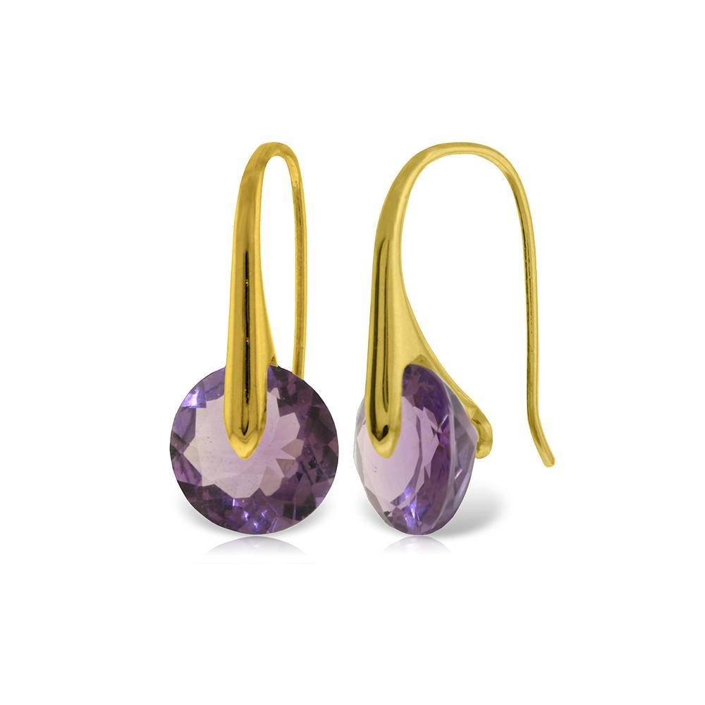 Genuine 11.50 ctw Amethyst Earrings Jewelry 14KT Yellow Gold - REF-74K6V