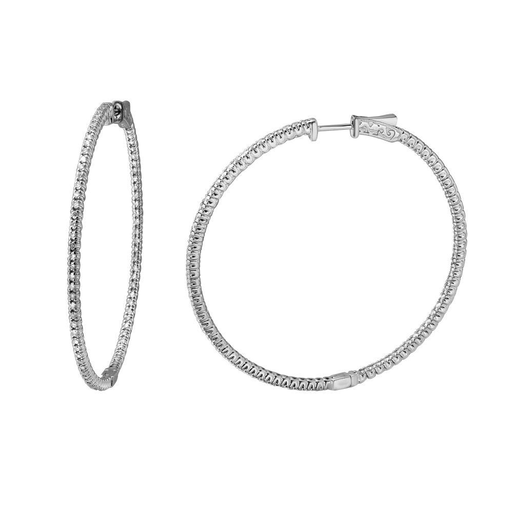Natural 1.99 CTW Diamond Earrings 14K White Gold - REF-201K4W
