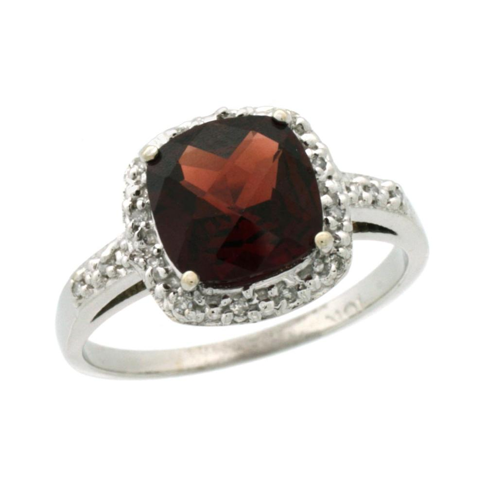 Natural 3.92 ctw Garnet & Diamond Engagement Ring 10K White Gold - REF-28Y4X